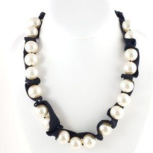 J. Crew Ribbon + Pearl Necklace